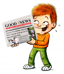 Scruff lifting newspaper
